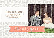 Floral Thank You Melon Wedding Magnets - Front