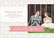 Floral Thank You Pink Wedding Magnets - Front