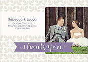 Floral Thank You Purple Wedding Magnets - Front