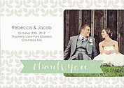 Floral Thank You Sage Wedding Magnets - Front