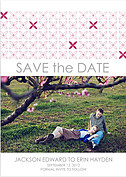 Criss Cross Date Pink Wedding Magnets - Front