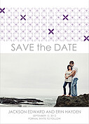 Criss Cross Date Purple Wedding Magnets - Front