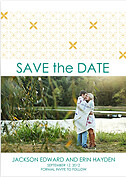 Criss Cross Date Gold Wedding Magnets - Front