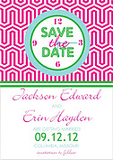 Preppy Mosaic Date Wedding Magnets - Front