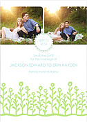 Flower Garden Invitation Blue Green Wedding Magnets - Front