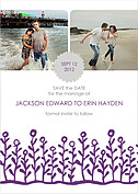 Flower Garden Invitation Gray Purple Wedding Magnets - Front