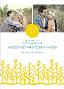 Flower Garden Invitation Yellow Teal Wedding Magnets - Front