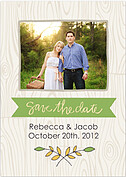 Woodgrain Date Green Wedding Magnets - Front