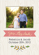 Woodgrain Date Pink Wedding Magnets - Front