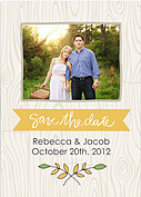 Woodgrain Date Yellow Wedding Magnets - Front