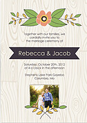 Woodgrain Invitation Purple Wedding Magnets - Front