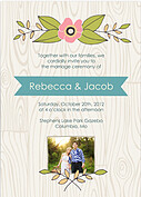 Woodgrain Invitation Teal Wedding Magnets - Front