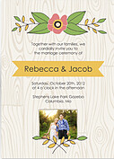 Woodgrain Invitation Yellow Wedding Magnets - Front