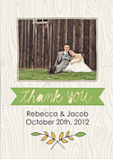 Woodgrain Thank You Green Wedding Magnets - Front