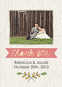 Woodgrain Thank You Pink Wedding Magnets - Front