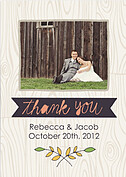 Woodgrain Thank You Purple Wedding Magnets - Front