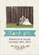 Woodgrain Thank You Teal Wedding Magnets - Front