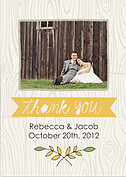 Woodgrain Thank You Yellow Wedding Magnets - Front