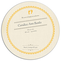 Baby Footprints Gold Circle Birth Announcements Flat Cards - Back