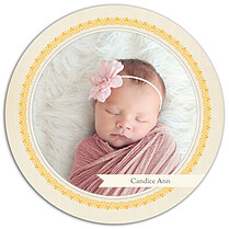 Baby Footprints Gold Circle Birth Announcements Flat Cards - Front