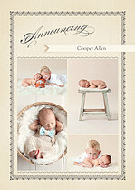 Baby Footprints Gray Birth Announcements Flat Cards - Front
