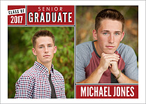 Block & Bold Red Graduation Flat Cards - Front