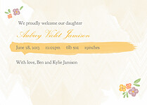 Casual Floral Gold Birth Announcements Flat Cards - Back
