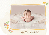Casual Floral Gold Birth Announcements Flat Cards - Front