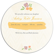 Casual Floral Multi Circle Birth Announcements Flat Cards - Back