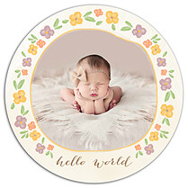 Casual Floral Multi Circle Birth Announcements Flat Cards - Front