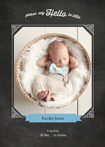 Chalky Frame Blue Birth Announcements Flat Cards - Front