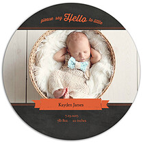 Chalky Frame Burnt Orange Circle Birth Announcements Flat Cards - Front