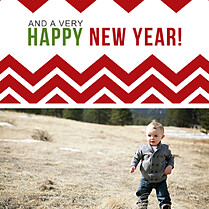 Chevron Christmas Square Christmas Flat Cards - Back