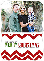 Chevron Christmas Ornate Christmas Flat Cards - Front