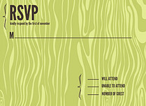 Chocolate Woodgrain RSVP Flat Cards - Front