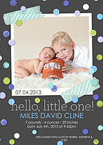 Confetti Boy Birth Announcements Flat Cards - Front