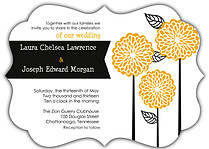Dahlia Trio Ornate Wedding Invites Flat Cards - Front