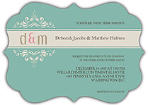 Delicate Banner Ornate Wedding Invites Flat Cards - Front