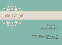 Delicate Banner Reception Flat Cards - Front