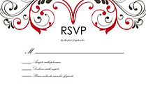 Fancy Scroll RSVP Flat Cards - Front