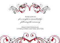 Fancy Scroll Reception Flat Cards - Front