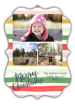 Festive Stripes Ornate Christmas Flat Cards - Front