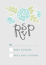 Floral Wreath RSVP Aqua RSVP Flat Cards - Front