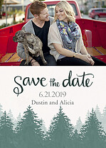 Forest Landscape Date Green Save the Date Flat Cards - Front