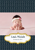 Handkerchief Navy Birth Announcements Flat Cards - Front