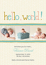 Herringbone World Gold Birth Announcements Flat Cards - Front