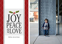Joy Peace and Love Holiday Flat Cards - Front