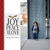 Joy Peace and Love Square Christmas Flat Cards - Front