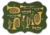Joyous Horns Green Ornate Christmas Flat Cards - Back