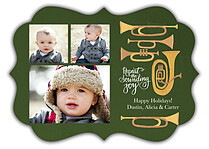 Joyous Horns Green Ornate Christmas Flat Cards - Front